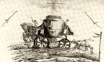 Lithography from early 19th century showing stagecoach mired in mud